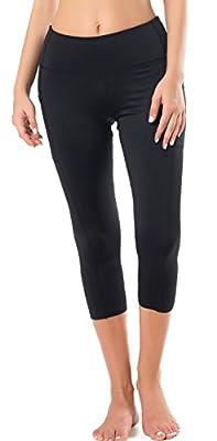 Neonysweets Women's Capri Yoga Pants Active Workout Pants Running Leggings Side Pockets