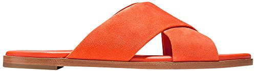 Haan Anica Spicy Orange Women's Slide Cross Cole Criss Suede Sandal d6qFwnZP