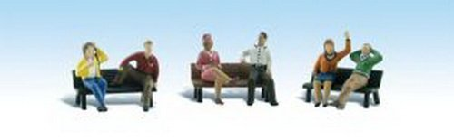 Woodland Scenics HO Scale Scenic Accents Figures Set People on Benches (6)