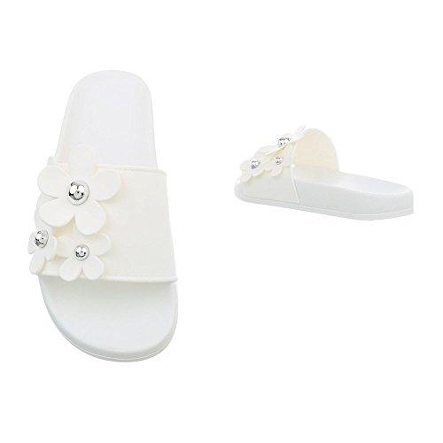 Mules Sandales Blanc 891 Chaussures Design Ital Femme Plat qtWvCFwWnX