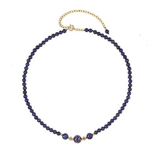 Lapis Lazuli and Cloisonne Beaded Choker Necklace, 14