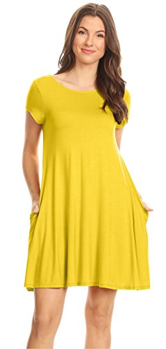 Yellow Summer Dress with Pockets Yellow Casual Solid Color T Shirt Dress Regular and Plus Size A Line Jersey Dress,4X,Yellow