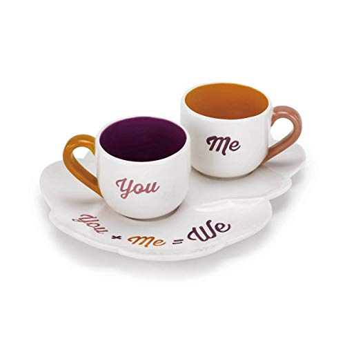Saucer Coffee Bond (Redrock Traditions You + Me = We Berry and Sunset Orange 6 Oz. Earthenware Tea Service Set of 3)