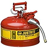 Type II AccuFlow Steel Safety Can for flammables, 2.5 gal, flame arrester, 5/8 metal hose