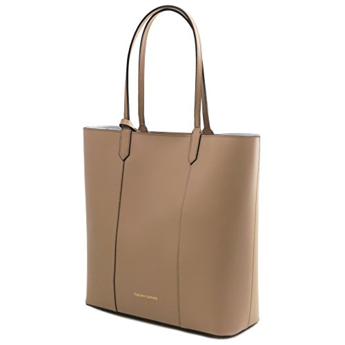 81414394 - TUSCANY LEATHER: DAFNE - Sac shopping en cuir Ruga, Taupe clair
