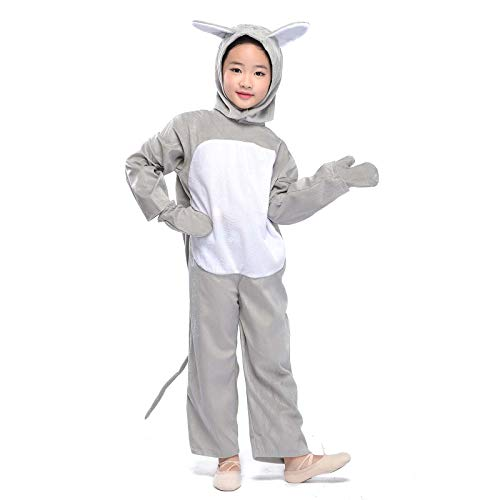 Kid Gray Mouse Costume Animal Jumpsuit Halloween Fancy Dress Outfit (Gray Mouse, M) -