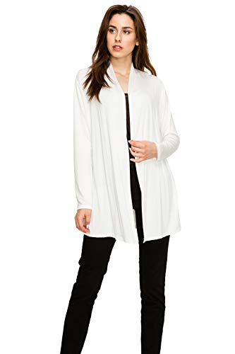 EttelLut Long Open Front Lightweight Soft Knit L/Sleeve Cardigan Sweaters Regular and Plus Size Cream XXL