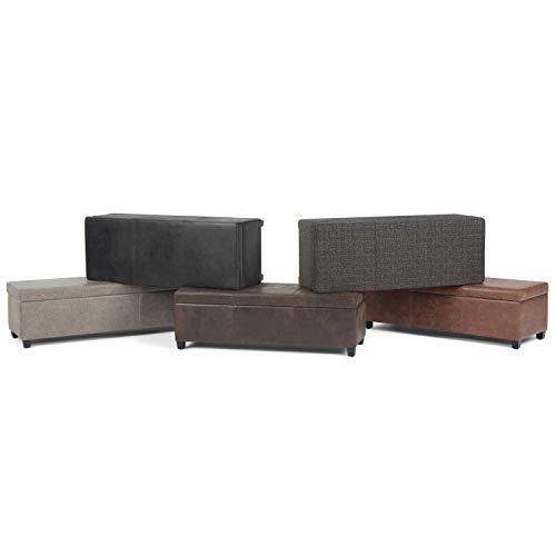Simpli Home AXCF18-DBR Storage Ottoman Leather