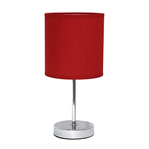 Simple Designs LT2007-RED Chrome Mini Basic Table Lamp with Fabric Shade, Red (Lamp Table Bedside Kids)