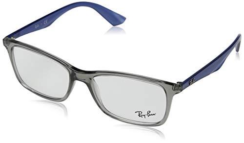 Ray-Ban RX7047 Rectangular Eyeglass Frames, Transparent Grey Blue/Demo Lens, 56 ()