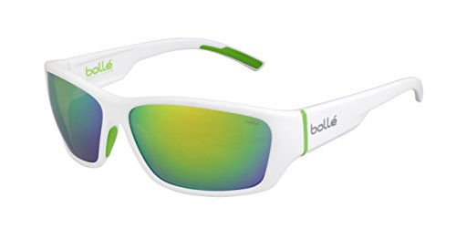 - Bolle Ibex Matte White Green 12375 Sunglasses Brown Emerald Lens L Thermogrip