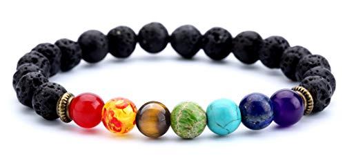 Small Stone Bracelet - Doitory Men Women 8mm Lava Rock Beads Chakra Bracelet Elastic Natural Stone Yoga Bracelet Bangle(Lava Chakra)