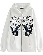 Yokbeer Vrouwen Y2k Zip Up Hooded Sweater Esthetische Grafische Hooded Sweatshirt Strass Skeleton Pullover Hoodie 90s Streetwear Jas