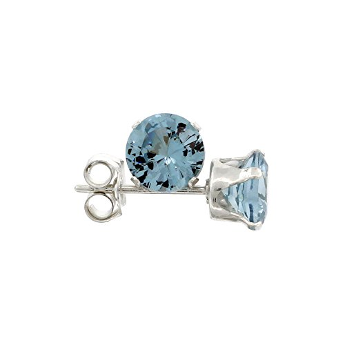 Sterling Silver Cubic Zirconia Blue Topaz Earrings Studs 5 mm Topaz Blue Color 1 carat/pair
