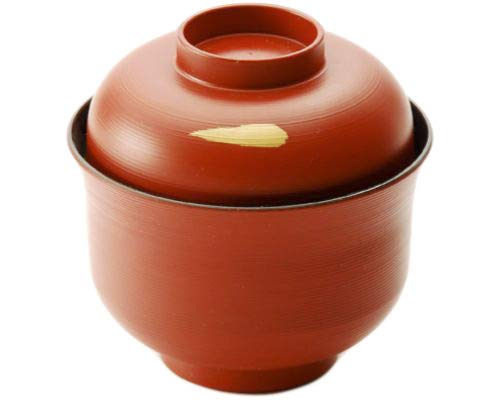 (Japanese Traditional Style Miso Soup Bowl Lacquerware Bowl with Lid 4.25