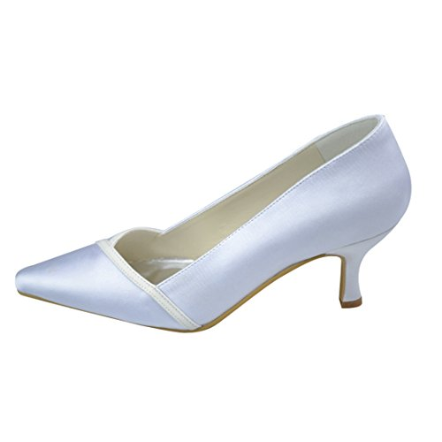 Y1029 6 Party Wedding Heel Satin kitten Minitoo 5cm Heel Evening White Bridal Pumps Womens BxqdwT6PH