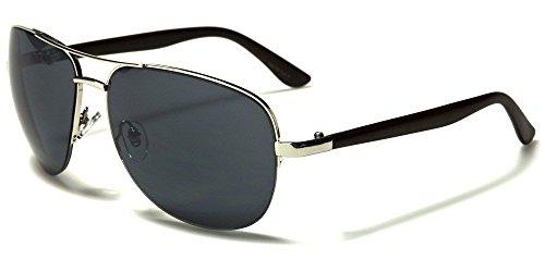 Designer Classics Wood (Silver Dark Faux Wood Faux Wood Arms Classic Aviator Men Women Designer Sunglasses)