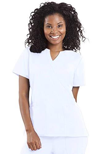 Line Mock Wrap - healing hands Purple Label Women's Jaclyn 2211 Mock Wrap Scrub Top Scrubs- White- X-Large