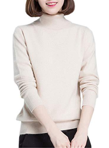 Betusline Women Basic Solid Turtleneck Sweater Pullover Knitwear Off-White