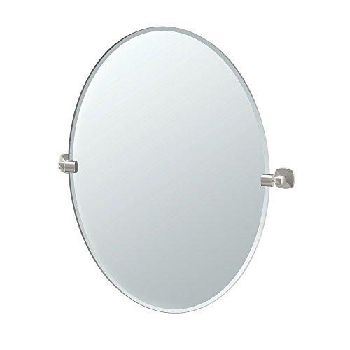 Gatco 4159LG Jewel Frameless Oval Mirror, Satin Nickel, 32