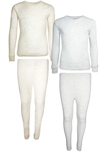 (Only Boys 2-Pack Thermal Warm Underwear Top and Pant Set (2 Full Sets) (3T, Oatmeal/Heather Grey)')