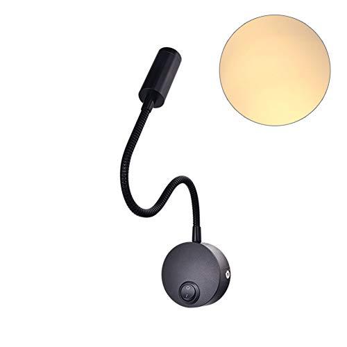 (angel3292 Clearance LED 3W Flexible Hose LED Wall Lamp Bedroom Bedside Hotel Reading Adjustable Light Black Warm White Light)