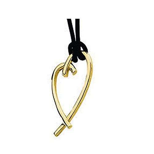 [14K Yellow Gold Heart Pendant with 18 Inches Black Leather Necklace - Tarnish Resistant Nickel] (Esmeralda Costume Diy)
