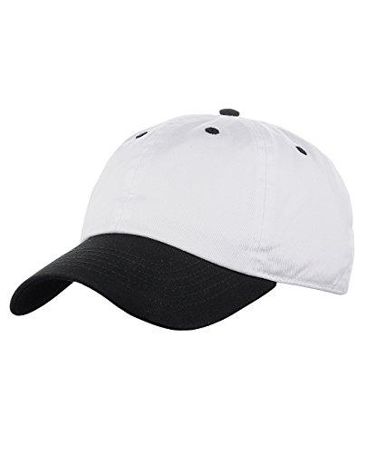 Adjustable 6-Panel Low-Profile Baseball Cap LOW100- White/Black ()