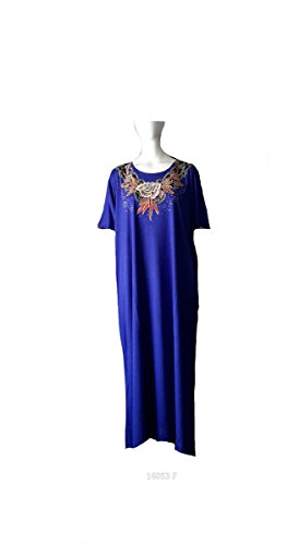 (15206 Blue) Mujeres 100% Cotton Woven Border Embroidery Long Kaftan (Satin Label). One Size