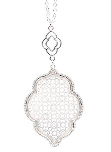 StylesILove Womens Trendy Two-Tone Cut Off Filigree Quatrefoil Long Chain Pendant Necklace Dangle Earring (Silver/Necklace)