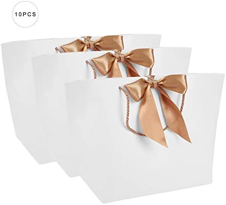 Pongnas Geschenktüte mit Griff, Papiereinkaufstasche, Schleifenband Geeignet für Kleidung Einkaufen Make-up Geburtstag Hochzeit/Brautjungfer Feier Geschenk (#2)
