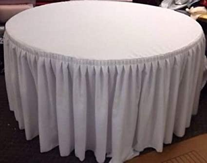 60inch Round Table.60 Inch Round Table Skirt Double Pleated Table Cover Polyester With Top Topper White