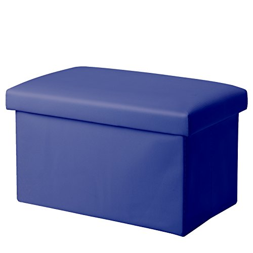 "Inoutdoorkit FSL01 Foldable Leather Storage Ottoman Bench Footrest Stool, Coffee Table Cube For Home, Office, Garden, Traveling, 16""x10""x10"" Folding Organizer Seat Prefect For Kids (Royalblue) from Inoutdoorkit"