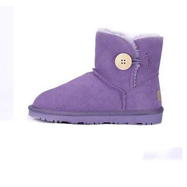 Botas de la mujer confort confort informal de primavera de gamuza púrpura gris plana negra Purple