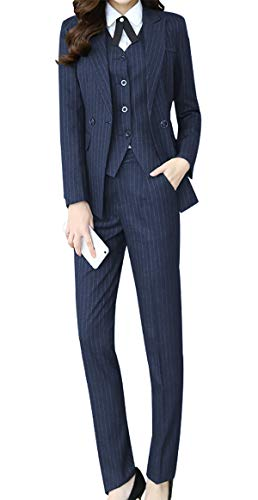 - Women's Three Pieces Office Lady Stripe Blazer Business Suit Set Women Suits Work Skirt/Pant,Vest Jacket Navy