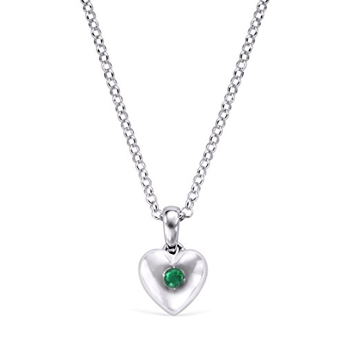 (Little Diva Diamonds 925 Sterling Silver Simulated Emerald May Birthstone Heart Pendant Necklace with 16