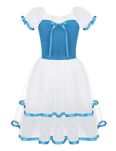 (Alvivi Kids Big Girl Mesh Puff Sleeves Romantic Long Ballet Dance Tutu Dress Bowknot Velvet Top Leotard Dancing Costume Light Blue 5-6)