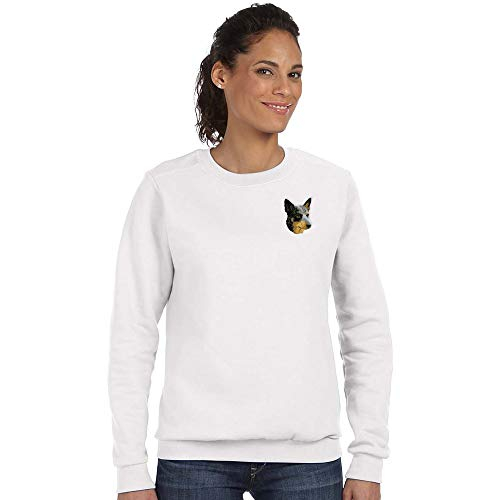 Embroidered Dog Sweatshirt Cattle - Cherrybrook Breed Embroidered Anvil Ladies Crew Sweatshirt - Medium - White - Australian Cattle Dog