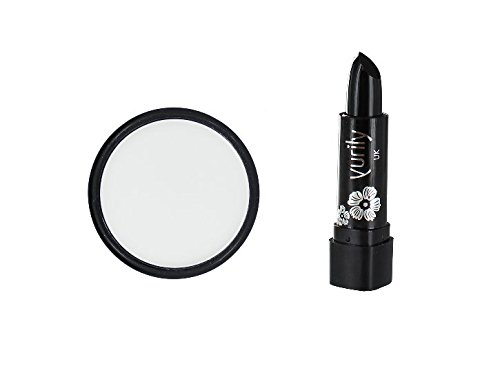 Yurily White Zombie Ghost Face Powder & Black Lipstick Halloween Fancy Dress Set (White And Black Makeup Halloween)