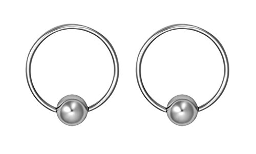 Captive Hoop Bead (Forbidden Body Jewelry Pair of Every-Day Piercing Rings: 20g 11mm Surgical Steel Captive Bead Hoop Rings, 4mm Balls)