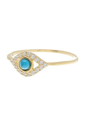 ADORNIA Turquoise and Swarovski Crystal Evil Eye Ring (Gold Swarovski Crystal Ring)