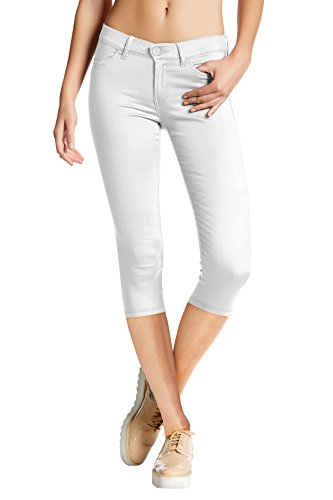 HyBrid & Company Women's Hyper Stretch Denim Capri Jeans Q44876 White -