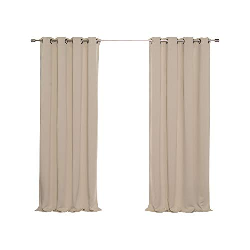 - Best Home Fashion Thermal Insulated Blackout Curtains - Antique Bronze Grommet Top - Beige - 52