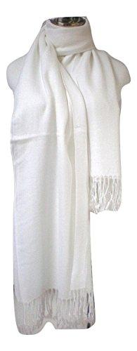 Premium Pashmina Shawl Wrap Scarf - - White Retailers Off