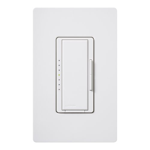 (Lutron Maestro Dimmer for Halogen and Incandescent Bulbs, with Wallplate, Single-Pole, MAW-600H-WH, White)