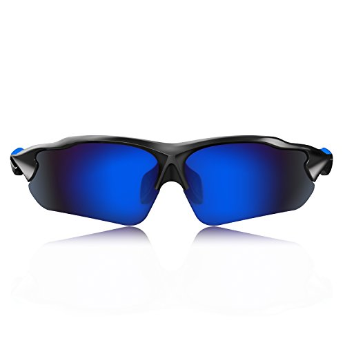 Hulislem Blade Ⅱ Sport Polarized Sunglasses for Men Women (Matte Black-Blue) Sports Womens Mens - Polarized Lens Lifestyle Sunglasses