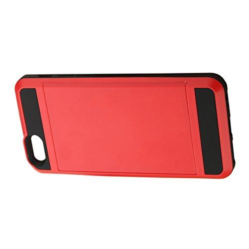 Telefon-Kasten - SODIAL(R)Karte Tasche Stossfeste Duenne Hybrid Mappe Abdeckung fuer iPhone 6/ 6S Rot