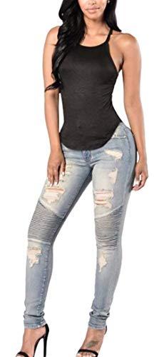 En Agujero Jeans Lápiz Flaco Pantalones Alta Estiramiento De Cintura Blau Plisado Agrietado Las Elegante Doblar Mujeres Battercake Rodilla La Casuales Mezclilla qg1UaOH