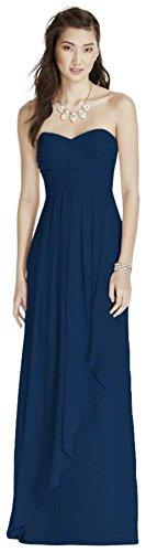 Strapless Crinkle Chiffon Bridesmaid Dress with Cascade Skirt Style W10840, Marine, 14 ()