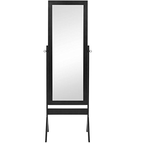 "eXXtra Store Black Floor Mirror Cheval Home Furniture Bedroom + eBook - Dimensions: 49.25""(L of the mirror) x 20""(W) x 65""(H) Mirror: 45""(L) x 14""(W) Weight: 22 lbs. - mirrors-bedroom-decor, bedroom-decor, bedroom - 31rcYFa4P5L -"